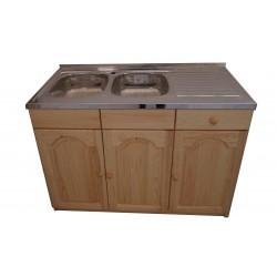 Кухненски шкаф с мивка - 120 х 60 с две леви корита